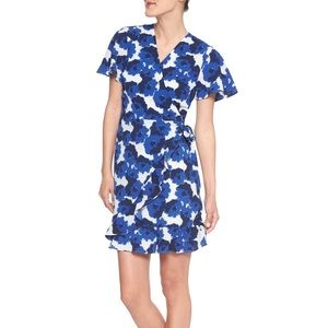 Blue and white floral wrap dress